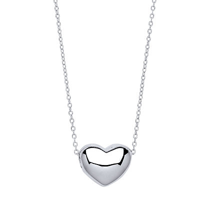 "STERLING SILVER 17"" TRACE CHAIN SLIDING HEART PENDANT HANGING NECKLACE"