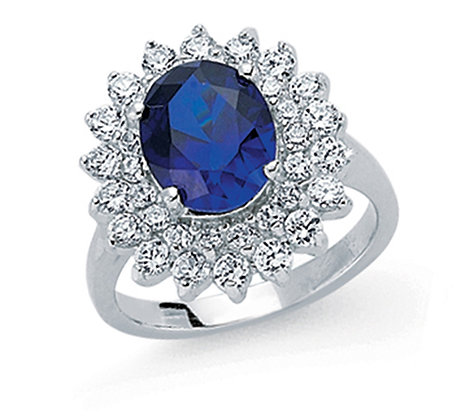 STERLING SILVER SOLID 18X17MM 2 ROW CUBIC ZIRCONIA HALO WITH OVAL CZ SAPPHIRE