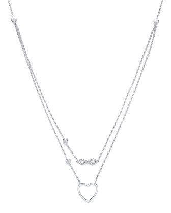 "STERLING SILVER 20"" MULTI LAYER TRACE CHAIN HEART AND INFINITY CUBIC ZIRCONIA NE"
