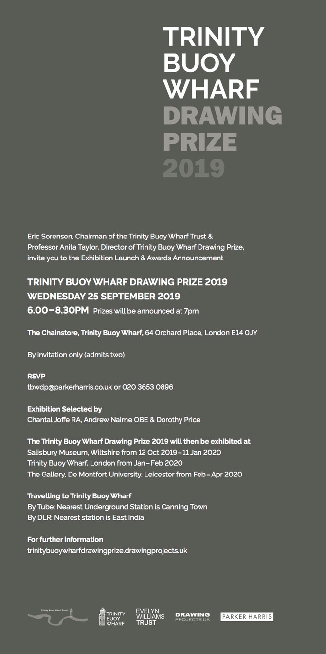 OPENING 24th September Trinity Buoy Wharf Drawing Prize 2019