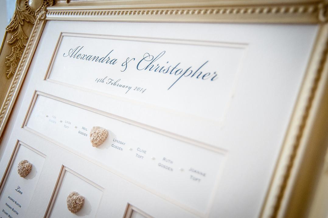 sam fitton manchester wedding magician table plan Harriet amaretto wedding frame beautiful elegant