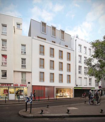 16 logements sociaux rue de la Charbonnière à Paris.