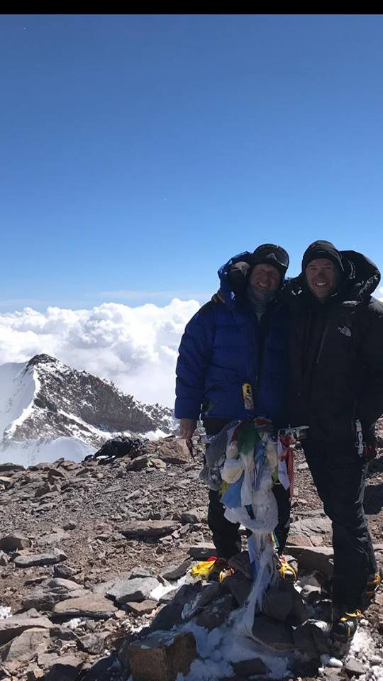 Dave Covill, my climbing partner for over 10 years, and Myself at the top of the Americas. A tough day for both of us but it was well worth the effort.