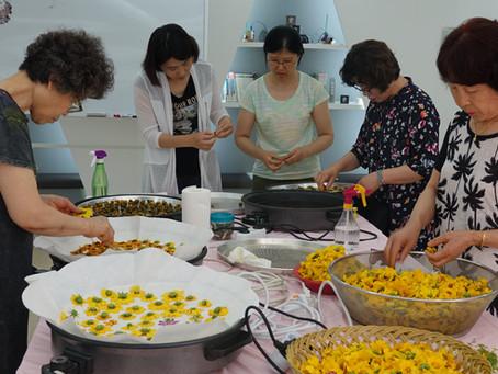 회동도래마을 꽃차 만들기 첫 수업 진행