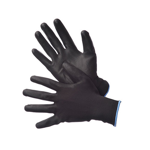 Black Polyester Shell with Black PU Coating 50-6639PBK