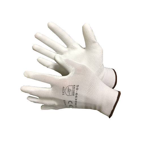 White Nylon Shell with White PU Coating 50-6639PW