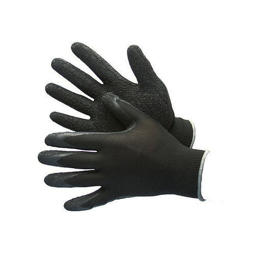 Black Polyester Shell with Textured Black Latex Coating 50-8842PBK