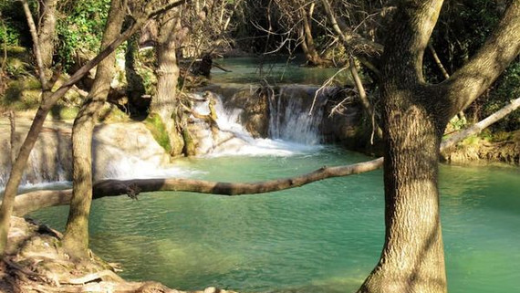 Water falls into the Cassole river