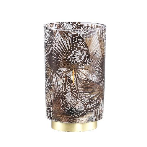 Ptmd jennifer goud glazen led lamp vlinderprint