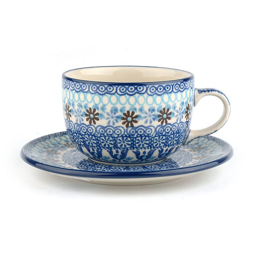 Cup and Saucer 240 ml Blue Coral