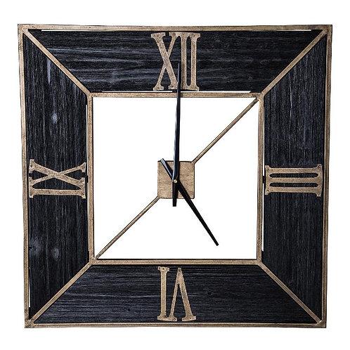 Ptmd rolf zwart klok metaal met hout vierkant