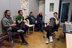 """At the studio, recording """"1987"""" with Giovanni Ciugi, Augustas Baronas, Yaniv Nachum and Teis Semey"""