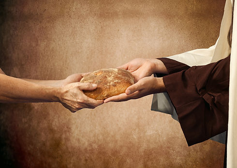Jesus Gives The Bread To A Beggar..jpg