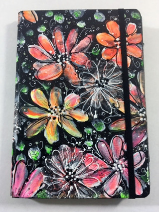 Art journal Cover   Easy Doodle Style Flowers