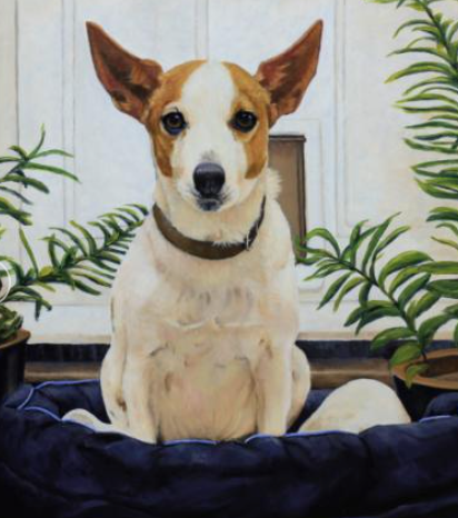 A commissioned portrait of a dog