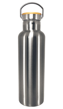 Silver Stainless Steel Tumbler w/ Bamboo Lid (700ml)