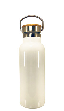White Stainless Steel Tumbler w/ Bamboo Lid (500ml)