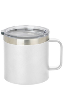 White Wide Coffee Mug w/ Lid