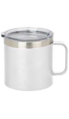 White Wide Coffee Mug w/ Lid