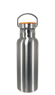 Silver Stainless Steel Tumbler w/ Bamboo Lid (500ml)