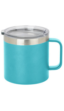 Aqua Wide Coffee Mug w/ Lid