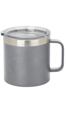 Grey Wide Coffee Mug w/ Lid