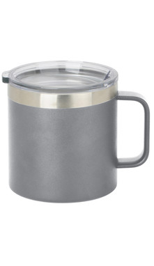 Grey Wide Coffee Mug w/ Lid