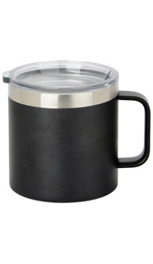 Black Wide Coffee Mug w/ Lid