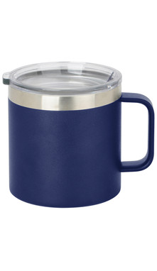 Cobalt Wide Coffee Mug w/ Lid