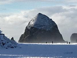Snowy Haystack Rock