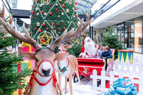 Traîneau Rouge avec Rennes et Père Noël