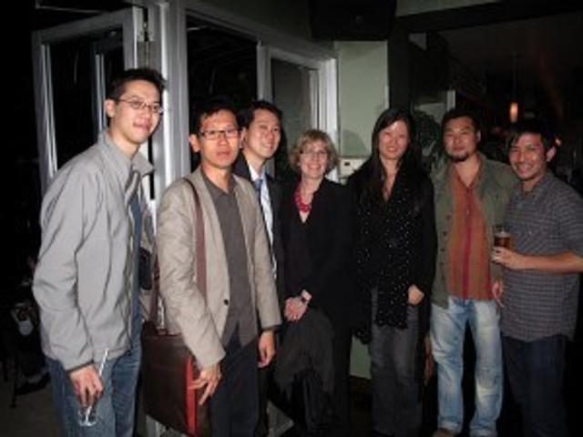 Ghost Town Reception: (From L to R) Chris Au (DGF), Dennis Lim (NYFF), Kevin Lee (DGF), Marian Masone (NYFF), Karin Chien (DGF), Filmmaker Zhao Dayong, Brent Quan Hall (DGF)