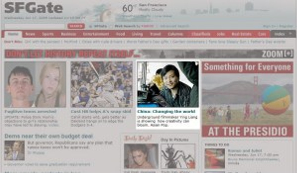 SFGate Homepage featuring Ying Liang