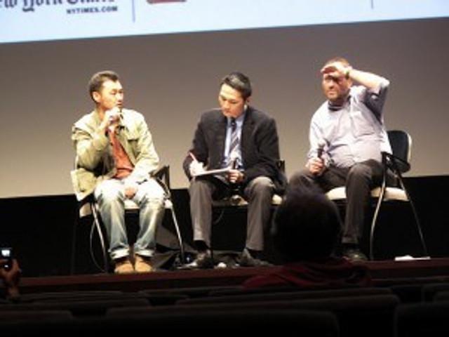 Post-film Q&A: (From L to R) Filmmaker Zhao Dayong, translator Vincent Cheng, J. Hoberman (NYFF)