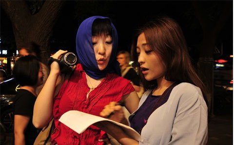 Yang (L) on the set of Female Directors