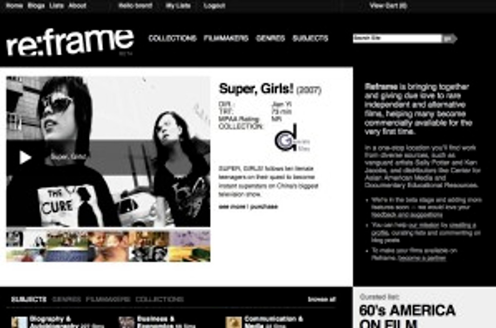Reframe features Super, Girls! on its homepage!