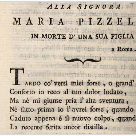 Alla signora Maria Pizzelli in morte d'una sua figlia