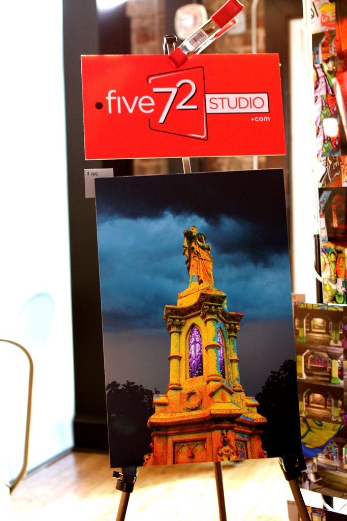 Yellow Tower with Five72 Studio sign