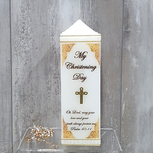 square baptism candle