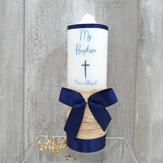 Navy large baptism candle.