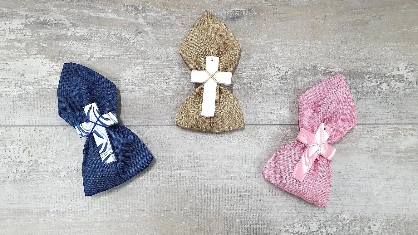 Handmade cross on satchel