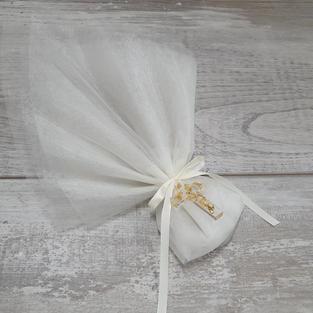 Handmade 3cm Luna gold flake resin cross on double layered organza pouch bonbonniere.