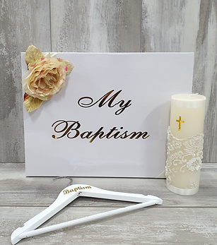 Catholi baptism box and candle
