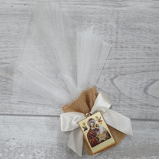 Hessian pouch with organza bonbonniere and orthodox Mary and Jesus icon.