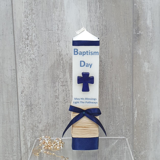 Standard size square blue candle with blue cross.