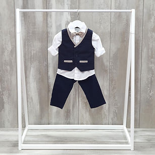Boys linen christening suit