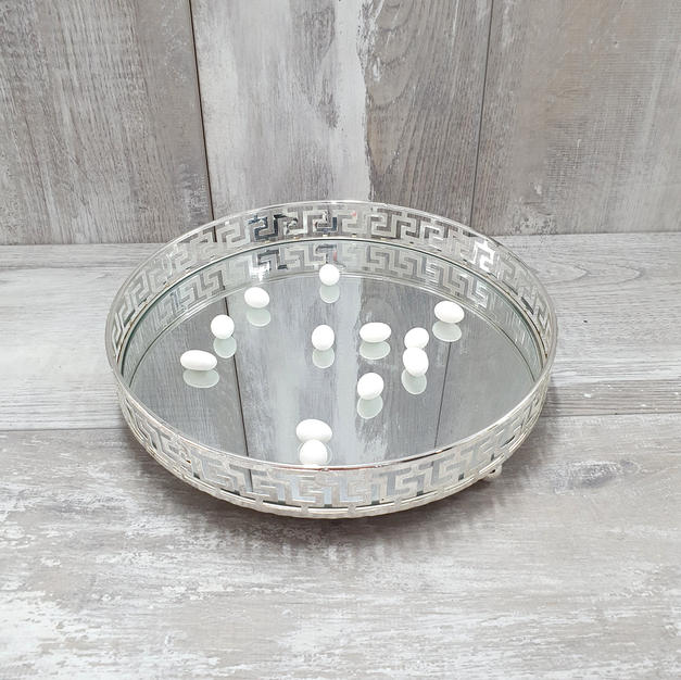 Round mirror silver plated tray.