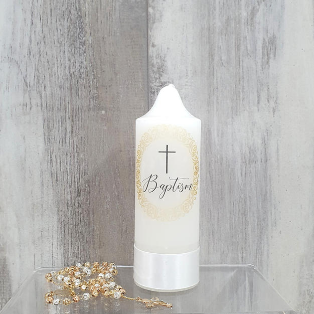 Small simple baptism gold candle.