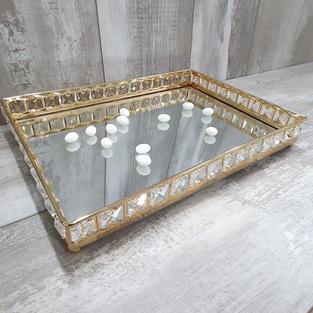 Rectangular gold frame  mirror tray.