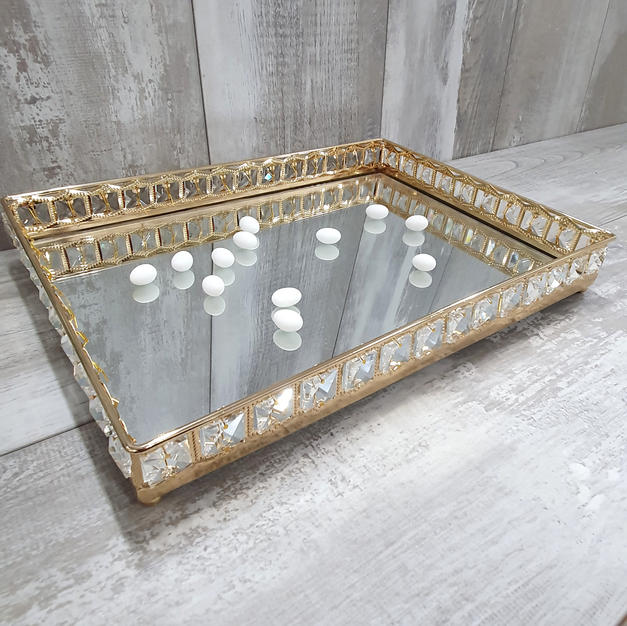 Rectangular gold frame  mirror tray.